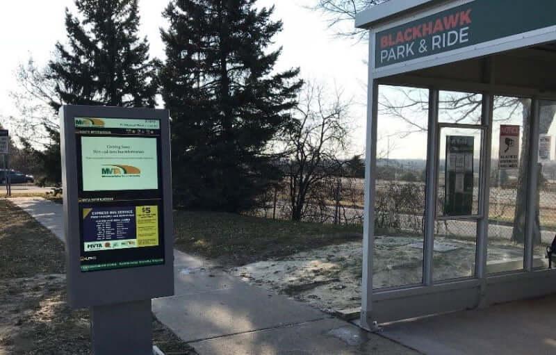 REACH Digital Signage Outdoor Kiosk at Bus Shelter in Dakota County Minnesota