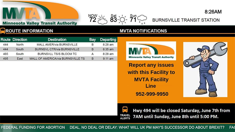 Minnesota Valley Transit Authority Expands Digital Signage with REACH