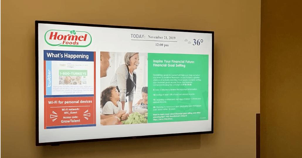 Digital bulletin board inside Hormel Foods' corporate office